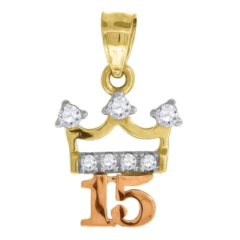 Curata 10k Gold Tri-color CZ Womens 15 Anos Height 12.2mm X Width 5.6mm Quinceanera Charm Pendant