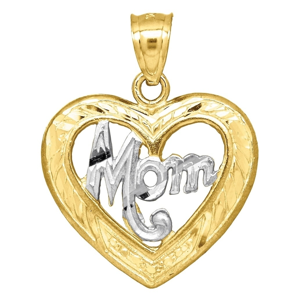 14k Yellow Gold Textured Polished Sparkle-Cut I Heart Mommy Pendant