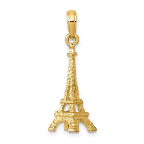 Curata 14k Yellow Gold Solid Polished 3-Dimensional Eiffel Tower Charm - Measures 23x7mm