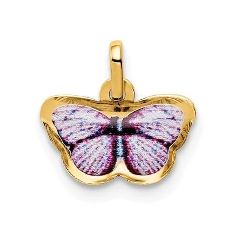 Curata 14k Enamel Butterfly Charm