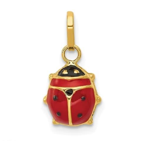 Curata 14k Yellow Gold Polished Closed back Enameled Ladybug Charm - Measures 10x6mm