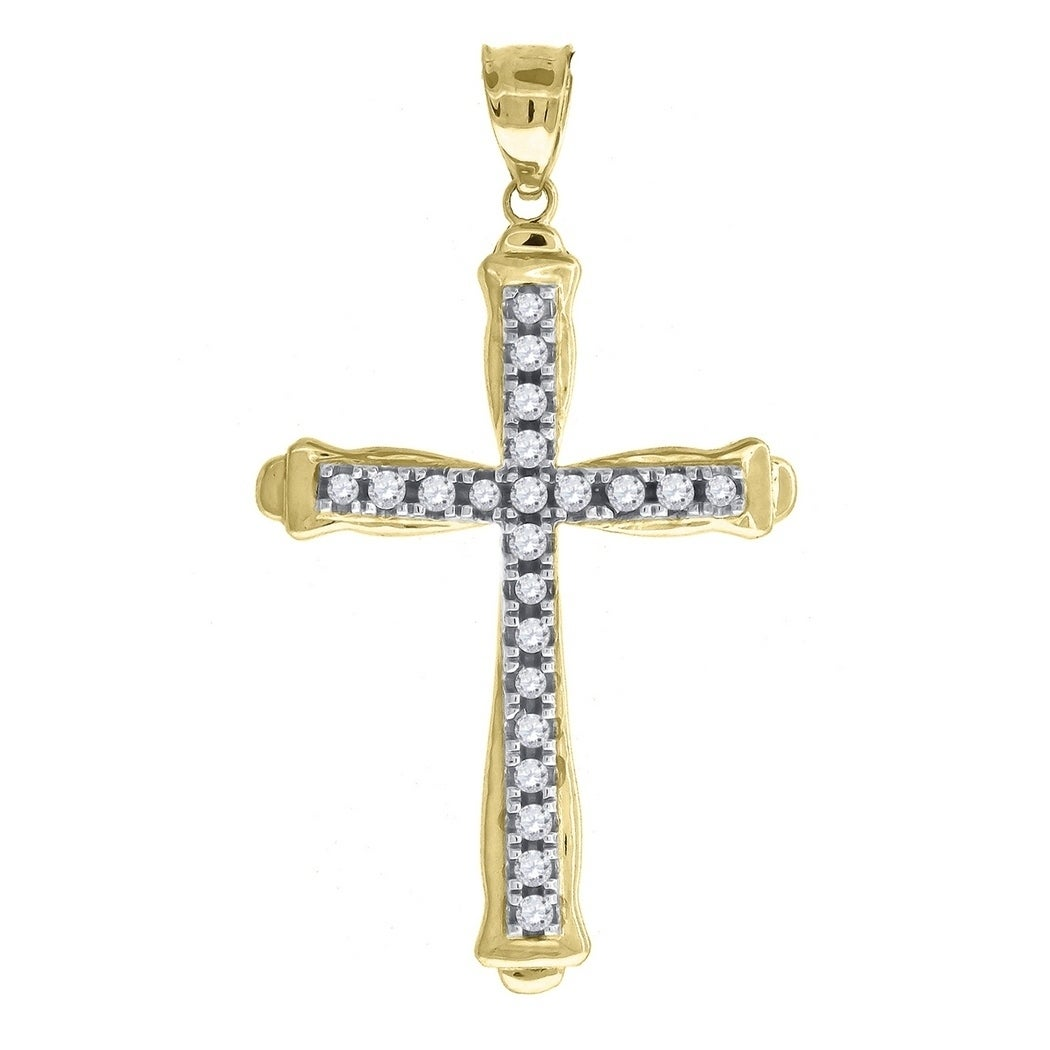 10k Gold Two-tone Cubic Zirconia Womens Cross Height 28.6mm X Width 15mm Religious Charm Pendant