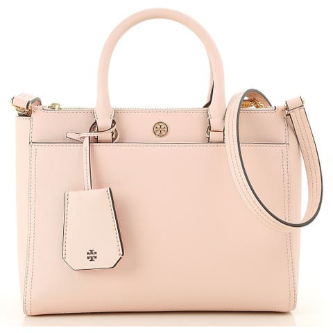 Tory Burch Robinson Small Double-ZIp Tote- Pale Apricot / Royal Navy interior