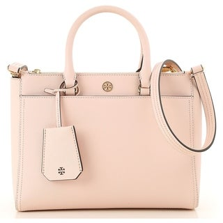 Link to Tory Burch Robinson Small Double-ZIp Tote- Pale Apricot / Royal Navy interior Similar Items in Shop By Style
