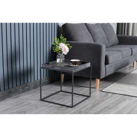 Burnham Home Highlands Industrial Grey Wood/ Metal Side Table