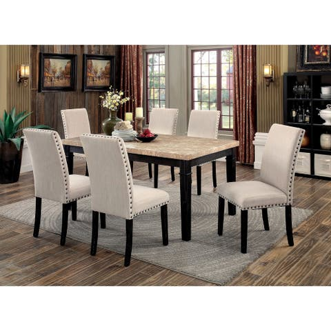 Furniture of America Del Transitional Ivory 7-piece Dining Table Set