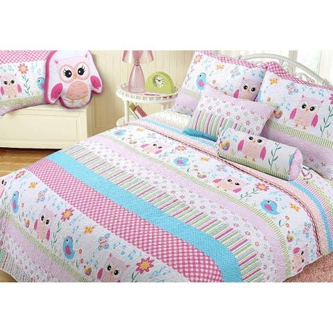 Cozy Line Happy Owl Reversible Quilt Set