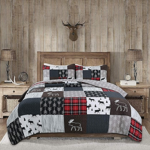Rustic Lodge Moose Real Patchwork Reversible Quilt Set