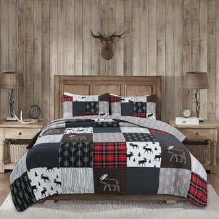 Link to Rustic Lodge Moose Real Patchwork Reversible Quilt Set Similar Items in Quilts & Coverlets
