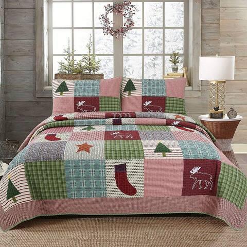 Cozy Line Rustic Lodge Deer Christmas Real Patchwork Quilt Set