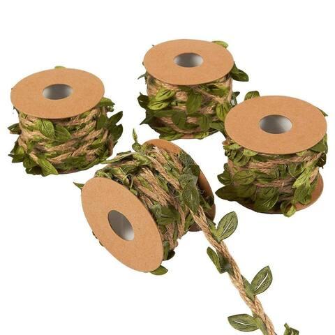 4 Rolls Jute Burlap Vine Twine with Artificial Leaf Garland Wedding Party Decor