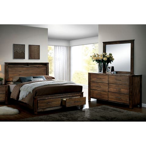 Furniture of America Syla Transitional Oak King 2-piece Bedroom Set