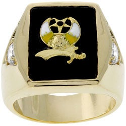 Kate Bissett Goldtone Nautical-themed Enamel CZ Men's Ring