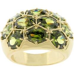 Kate Bissett Goldtone Honeycomb Olive CZ Cocktail Ring