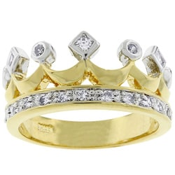 Kate Bissett Two-tone Crown Fashion Cubic Zirconia Ring