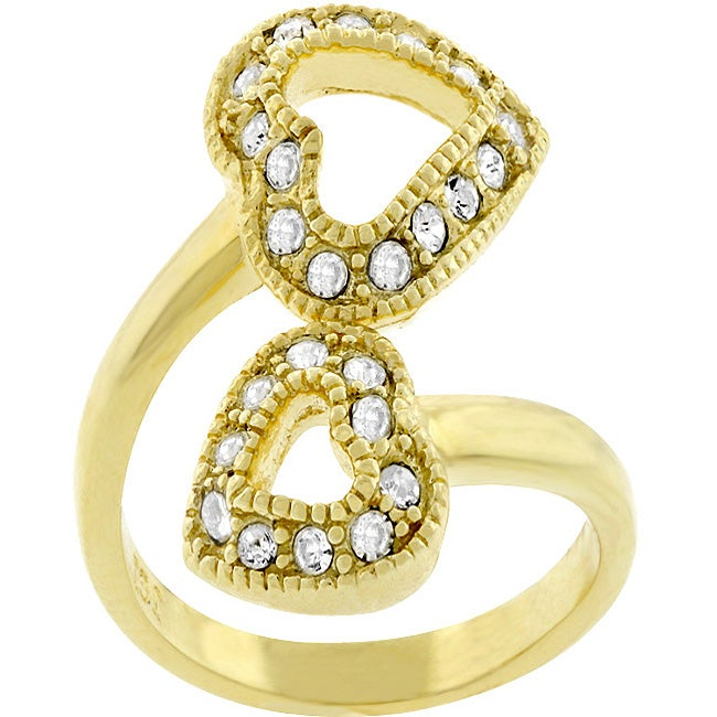 Kate Bissett Goldtone Pave CZ Double Heart Fashion Ring