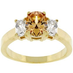 Kate Bissett Goldtone Oval Champgne Cubic Zirconia Ring