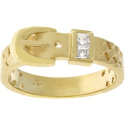 Kate Bissett Goldtone Cubic Zirconia Buckle-style Ring