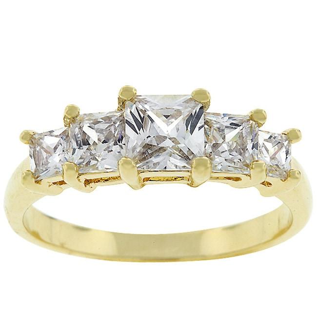 Kate Bissett Goldtone Bridal-inspired Journey CZ Ring