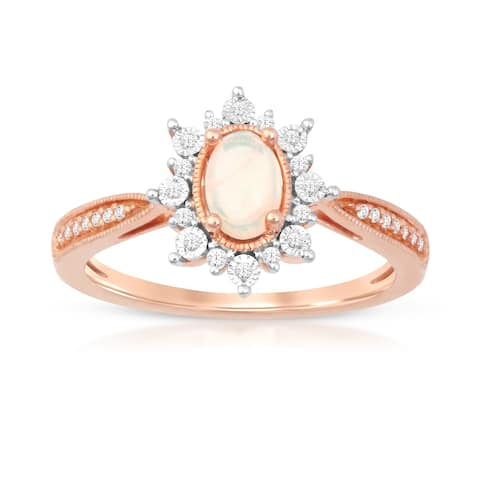 1/10ct TDW Diamond Ethopian Gemstone Halo Ring in 10k Rose Gold