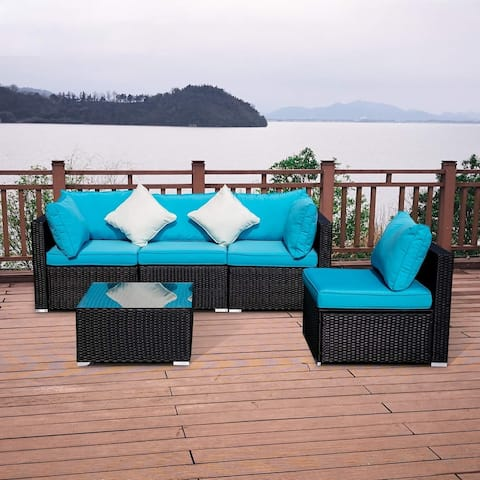 The Curated Nomad Oriano Blue 5-piece Rattan Wicker Patio Sectional Set