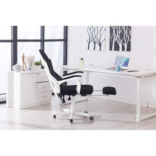 White Mesh Adjustable Ergonomic Executive Office Chair with Footrest
