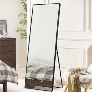 Large Rectangle Thin Framed Full-Length Mirror Floor Mirror with stand - N/A
