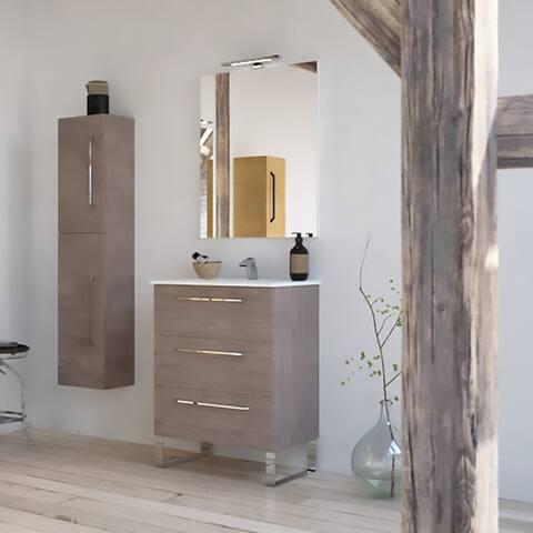 "24"" Modern Bathroom Vanity Set Dakota Chicago Grey Oak Wood Chrome / Black handles and legs"