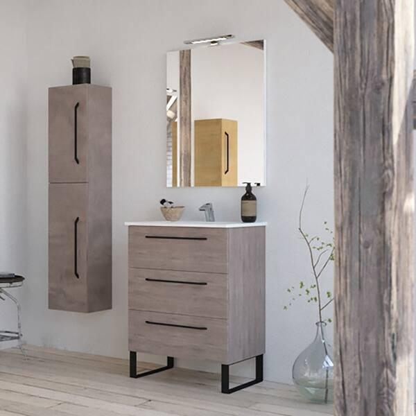 24 Modern Bathroom Vanity Set Dakota Chicago Grey Oak Wood Chrome Black Handles And Legs Overstock 30328577 Brown Silver Oak Finish