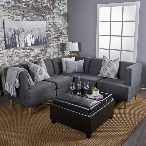 Carson Carrington Larvik Mid-century Modern 5-piece Fabric Sectional Sofa Set by Christopher Knight Home
