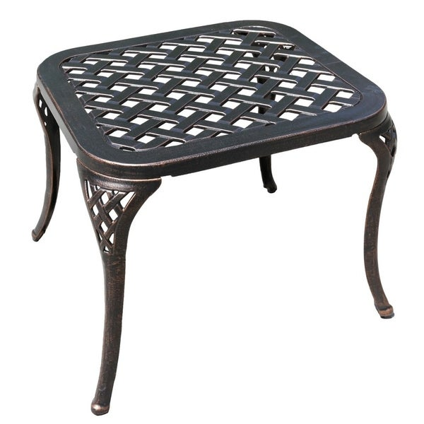 Brown Cast Aluminum Side Table Outdoor Patio End Table