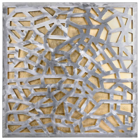 Polished Steel Sculpture Abstract Wall Art with Gold/Silver Leaf