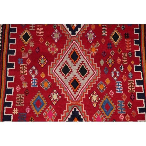 Geometric Shiraz Persian Tribal Area Rug Handmade Oriental Red Carpet 4 9 X 9 3 On Sale Overstock 30329666