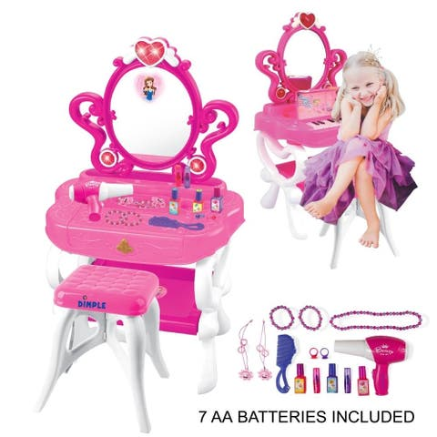 Dimple 2-in-1 Princess Pretend Play Vanity Set Table with Working Piano Beauty Set for Girls with Toy Makeup