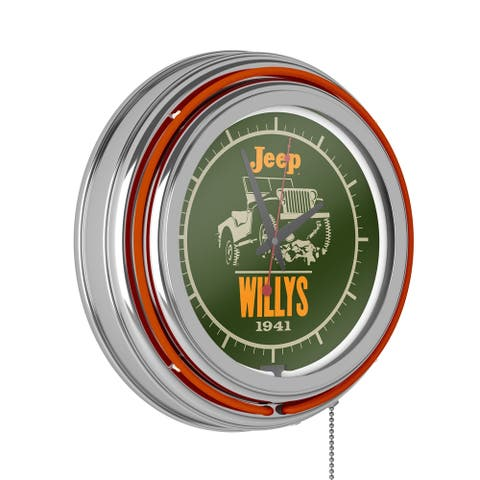 Jeep Willys Neon Wall Clock