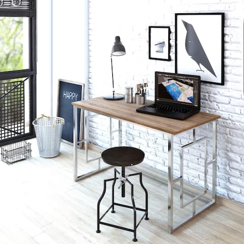 Decorotika Elzen Modern Industrial Metal Wood Computer Desk