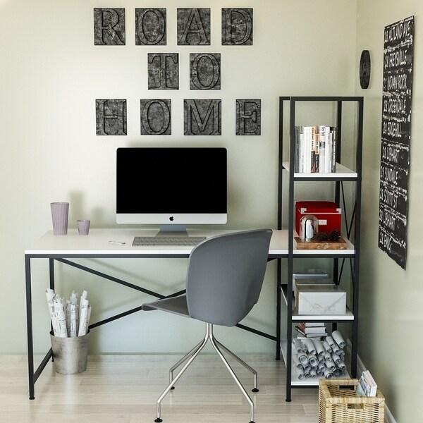 Decorotika Gentile 63'' Wide Industrial Computer Desk with Shelves
