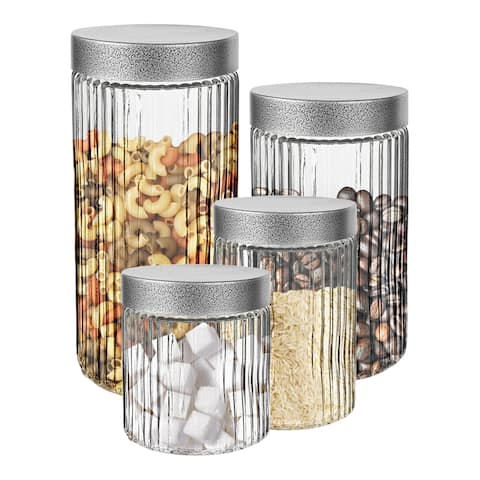 Stylesetter Fluted Embossed 4-Piece Canister Set