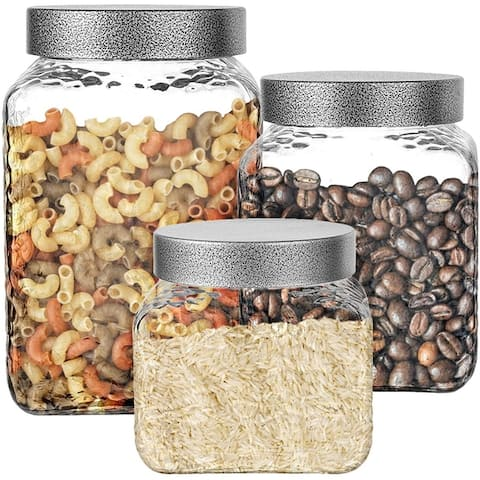 Stylesetter Hammered Square 3-Piece Canister Set