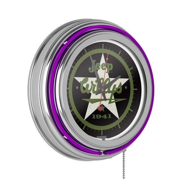 Jeep Willys 1941 Neon Wall Clock (Purple). Opens flyout.