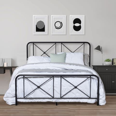 Williamsburg Metal Bed with Decorative Double X Design, Black