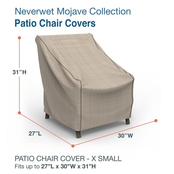 Budge Waterproof Outdoor Patio Chair Cover, NeverWet® Mojave, Black Ivory, Multiple Sizes