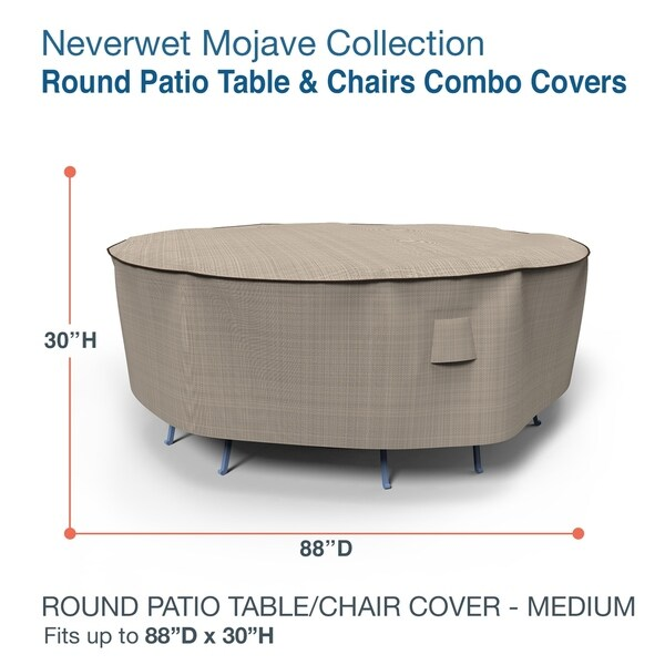 Budge Round Waterproof Outdoor Patio Table and Chairs Combo Cover, NeverWet® Mojave, Black Ivory, Multiple Sizes