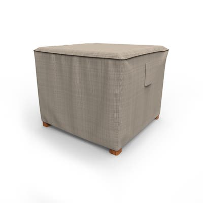 Budge Square Waterproof Outdoor Patio Table Cover, / Ottoman Cover, NeverWet® Mojave, Black Ivory, Multiple Sizes