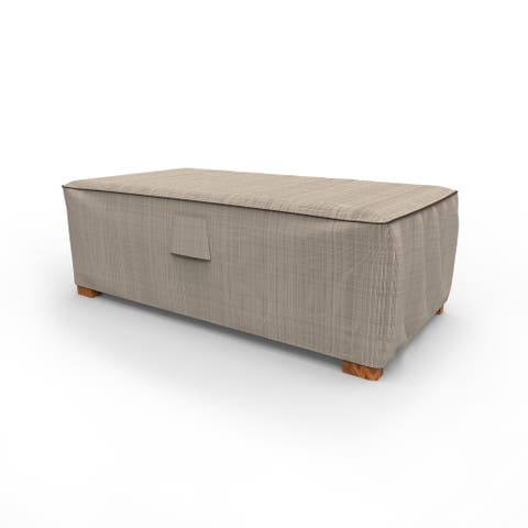 Budge Waterproof Outdoor Patio Ottoman Cover, / Coffee Table Cover, NeverWet® Mojave, Black Ivory, Multiple Sizes