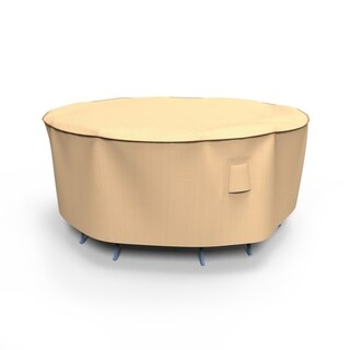 Budge Waterproof Outdoor Round Patio Table and Chairs Combo Cover, Sedona, Tan, Multiple Sizes