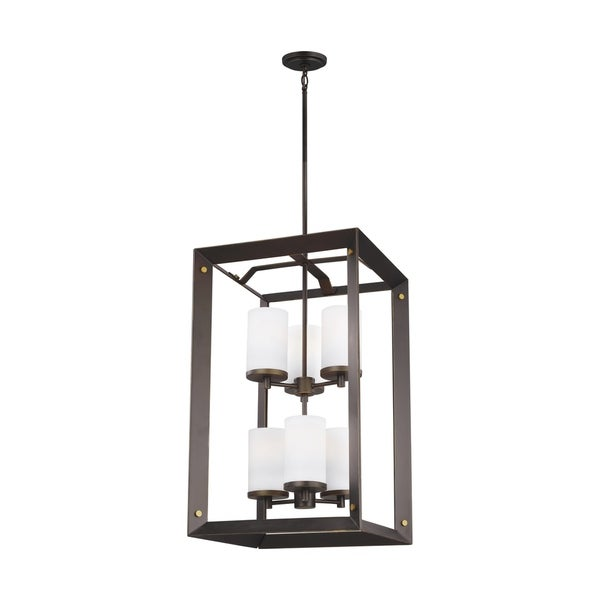 Sea Gull Chatauqua 6-light Etched and White Glass Hall/Foyer Pendant. Opens flyout.