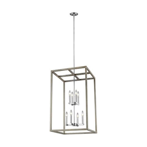 Sea Gull Moffet Street Washed Pine 8-light Hall/Foyer Pendant