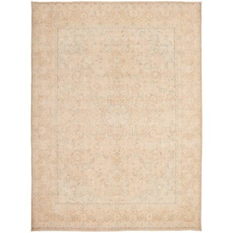 "Hand-knotted Pako Vintage Tan Wool Rug - 9'6"" x 12'10"""