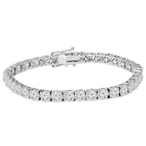 9 ct Round Lab-Created Diamond Tennis Bracelet 14K White Gold 7 inches.